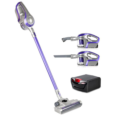 120W Bag-less Cordless Vacuum Cleaner - Purple & Grey with Spare Battery - Factory To Home - Appliances