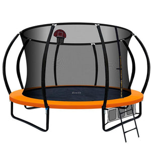 12FT Trampoline With Basketball Hoop - Orange - Factory To Home - Gift & Novelty