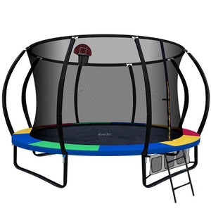 12FT Trampoline With Basketball Hoop - Rainbow - Factory To Home - Gift & Novelty
