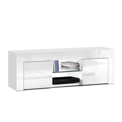130cm High Gloss Entertainment Unit With Tempered Glass Shelf - White - Factory To Home - Furniture