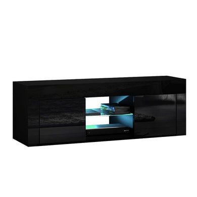130cm RGB LED Entertainment Unit - Black - Factory To Home - Furniture