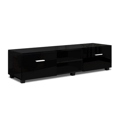 140cm High Gloss TV Entertainment Unit - Black - Factory To Home - Furniture