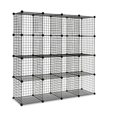 16 Cube Metal Wire Storage Cabinet - Black - Factory To Home - Home & Garden