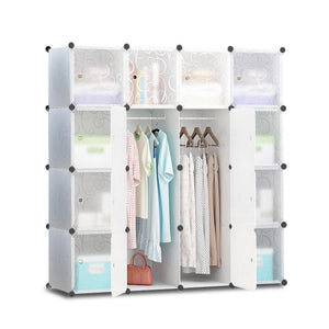 16 Cube Portable Storage Cabinet Wardrobe - White - Factory To Home - Home & Garden