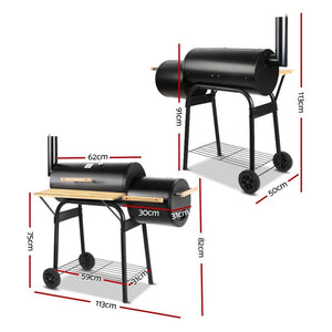 2-in-1 Offset BBQ Smoker - Black - Factory To Home - Home & Garden