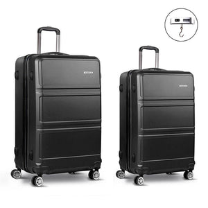 2 Piece Lightweight Hard Suit Case Luggage Black - Factory To Home - Home & Garden