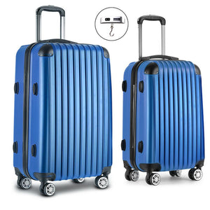 2 Piece Lightweight Hard Suit Case Luggage Blue - Factory To Home - Home & Garden