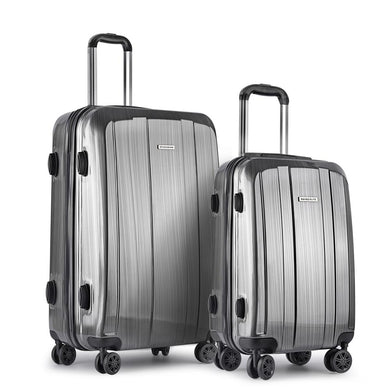 2 Piece Lightweight Hard Suit Case Luggage Grey - Factory To Home - Home & Garden