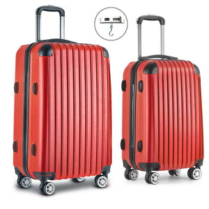 2 Piece Lightweight Hard Suit Case Luggage Red - Factory To Home - Home & Garden
