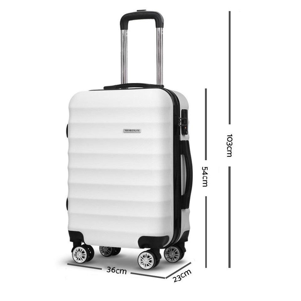 2 Piece Lightweight Hard Suit Case Luggage White - Factory To Home - Home & Garden