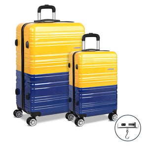 2 Piece Lightweight Hard Suit Case Luggage Yellow & Purple - Factory To Home - Home & Garden