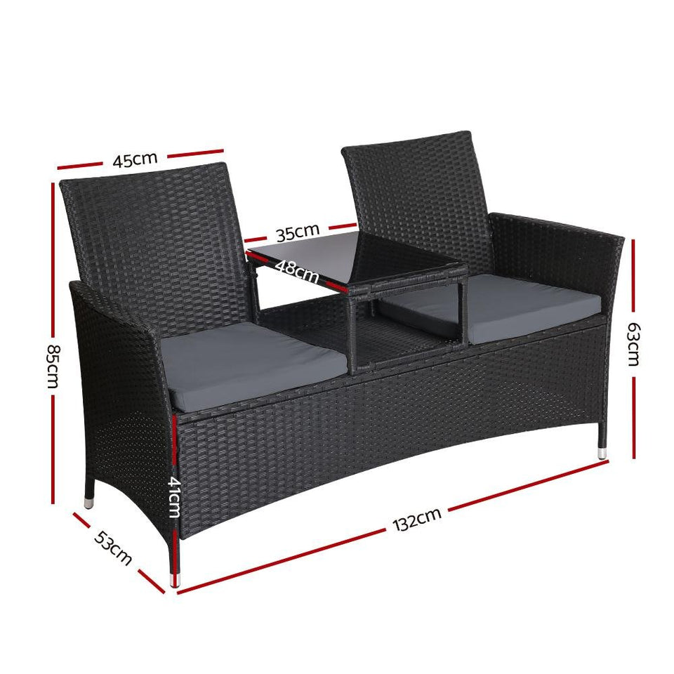 2 Seater Outdoor Chair - Black - Factory To Home - Home & Garden