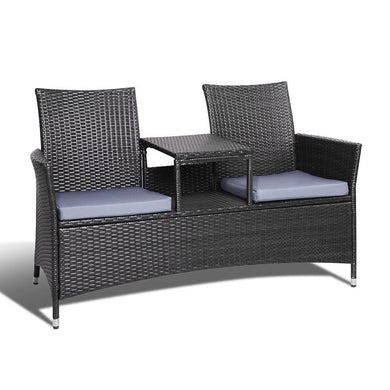2 Seater Outdoor Wicker Bench - Black - Factory To Home - Furniture