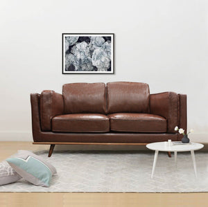 2 Seater Stylish Leatherette Brown York Sofa - Factory To Home - Furniture
