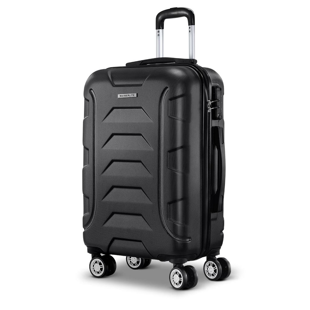 20 Luggage Sets Suitcase Trolley Travel Hard Case Lightweight Black