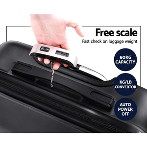 "20 Luggage Sets Suitcase Trolley Travel Hard Case Lightweight Black"" - Factory To Home - Home & Garden"