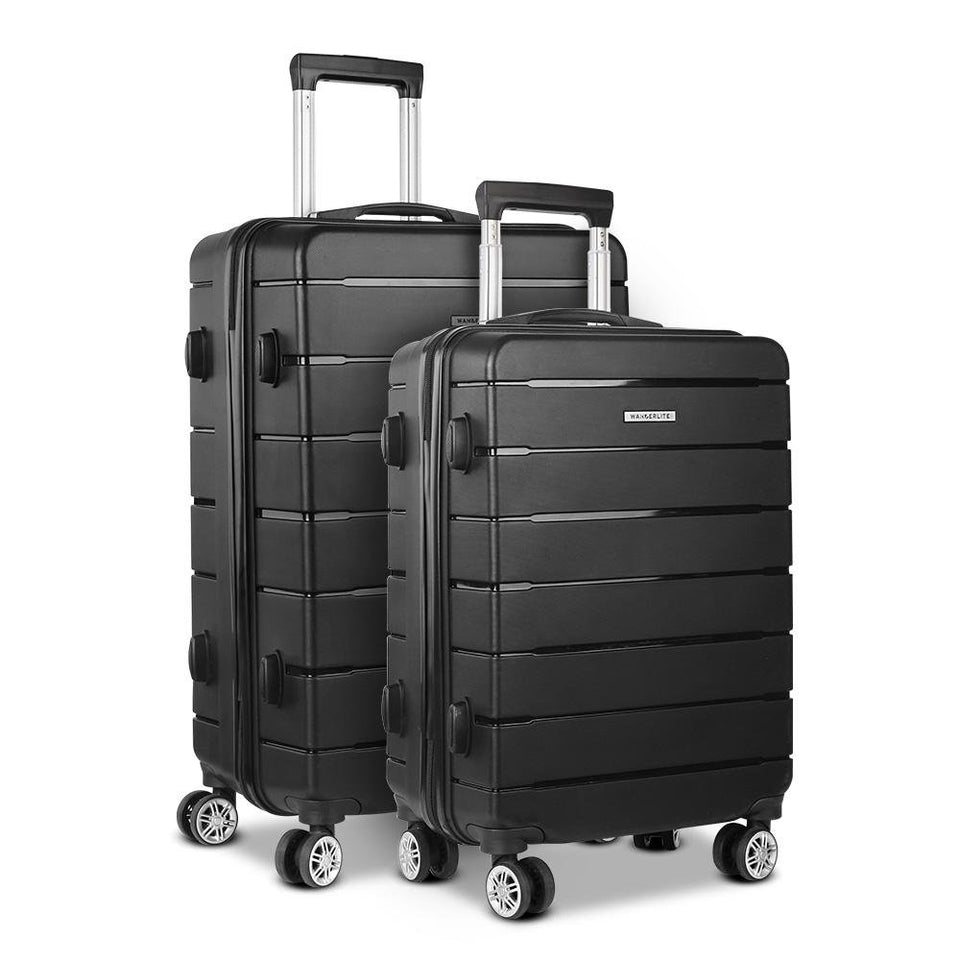 2PC Suitcase - Black - Factory To Home - Home & Garden