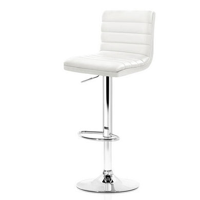 2x Gas Lift Leather Bar Stools - White - Factory To Home - Furniture
