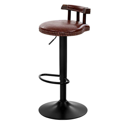 2x Leather Vintage Kitchen & Bar Stools - Brown - Factory To Home - Furniture