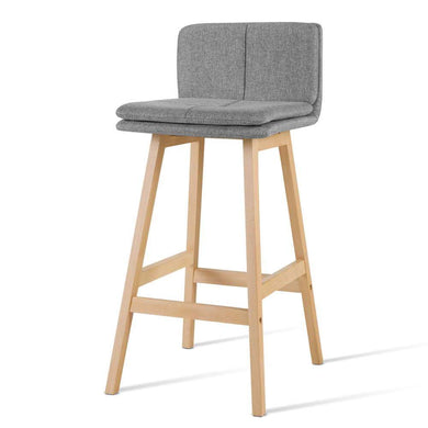 2x Wooden Kitchen & Bar Stools - Fabric Grey - Factory To Home - Furniture