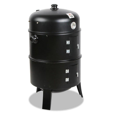3-in-1 Charcoal BBQ Smoker - Black - Factory To Home - Home & Garden