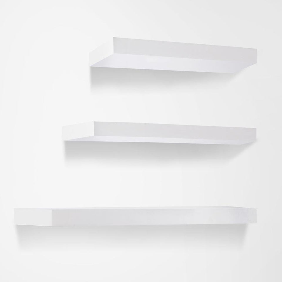 3 Piece Floating Wall Shelves - White - Factory To Home - Furniture