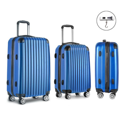 3 Piece Lightweight Hard Suit Case - Blue - Factory To Home - Home & Garden