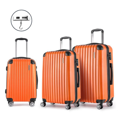 3 Piece Lightweight Hard Suit Case - Orange - Factory To Home - Home & Garden