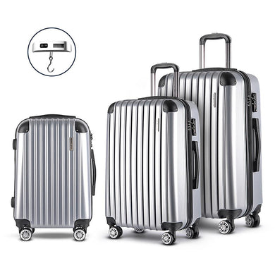 3 Piece Lightweight Hard Suit Case - Silver - Factory To Home - Home & Garden