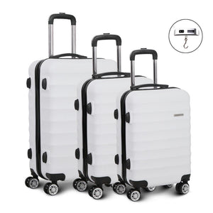 3 Piece Lightweight Hard Suit Case - White - Factory To Home - Home & Garden