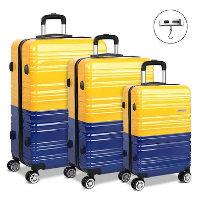 3 Piece Lightweight Hard Suit Case - Yellow & Purple - Factory To Home - Home & Garden