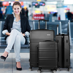 3 Piece Lightweight Suit Case - Black - Factory To Home - Home & Garden