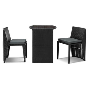 3 Piece Outdoor Table and Chair Set - Black - Factory To Home - Furniture