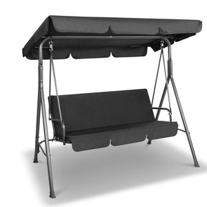 3 Seater Canopy Swing Chair - Black - Factory To Home - Home & Garden