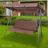 3 Seater Canopy Swing Chair - Coffee - Factory To Home - Home & Garden