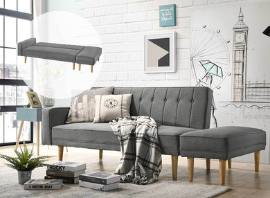 3 Seater Fabric Sofa Bed with Ottoman - Light Grey - Factory To Home - Furniture
