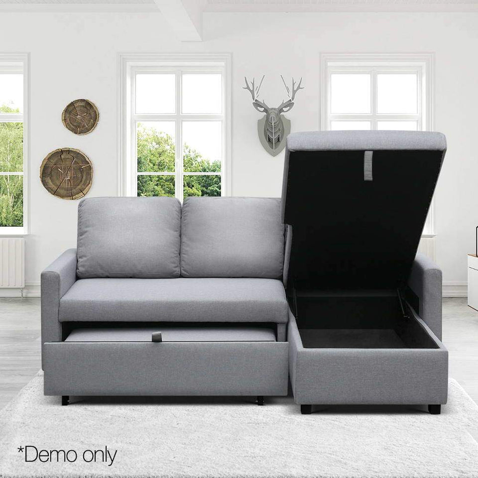 3 Seater Fabric Sofa with Storage - Grey - Factory To Home - Furniture