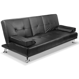 3 Seater PU Leather Sofa Bed - Black - Factory To Home - Furniture