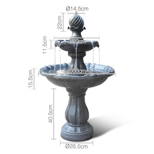 3 Tier Solar Powered Water Fountain - Black - Factory To Home - Home & Garden