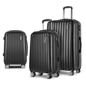 3pc Luggage Sets Lightweight - Black - Factory To Home - Home & Garden