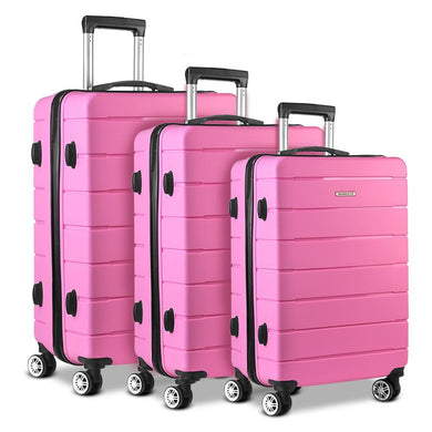 3PC Luggage Trolley - Pink - Factory To Home - Home & Garden