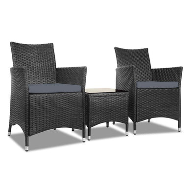 3pc Rattan Bistro Outdoor Set - Black - Factory To Home - Home & Garden