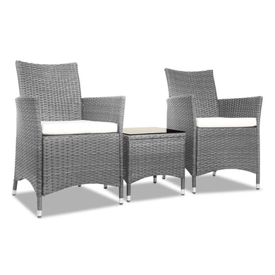 3pc Rattan Bistro Outdoor Set - Grey - Factory To Home - Home & Garden