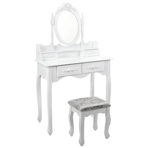 4 Drawer Dressing Table with Mirror - White - Factory To Home - Furniture