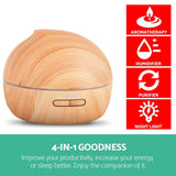 4 in 1 Ultrasonic Aroma Diffuser 300ml - Light Wood - Factory To Home - Appliances