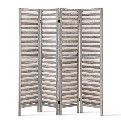 4 Panel Foldable Wooden Room Divider - Grey - Factory To Home - Furniture