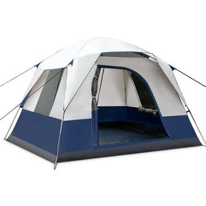 4 Person Canvas Camping Tent - Navy & Grey - Factory To Home - Outdoor