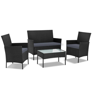 4-piece Rattan Outdoor Set - Black - Factory To Home - Home & Garden