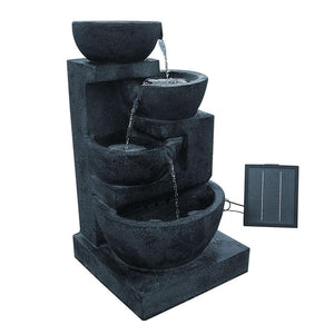 4 Tier Solar Powered Water Fountain with Light - Blue - Factory To Home - Home & Garden