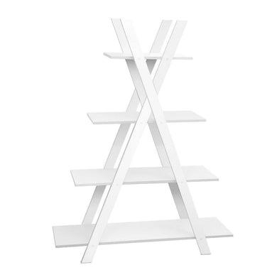 4 Tier X Shape Ladder Shelf Display - White - Factory To Home - Furniture